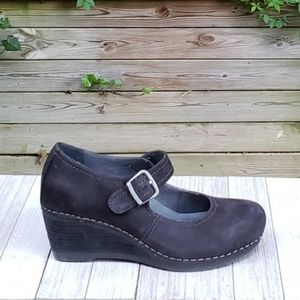Dansko Sandra Mary Jane Wedge Shoes Nubuck Leather